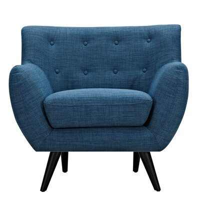 Ida Armchair Leg Finish: Black, Upholstery Color: Stone Blue