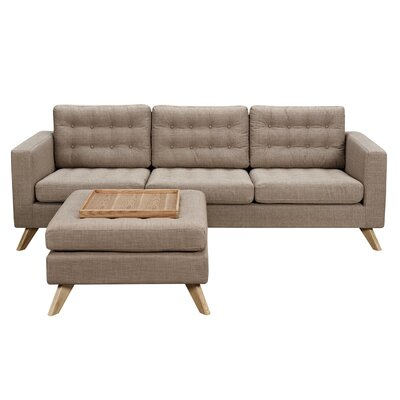 Mina Sofa and Ottoman Finish: Natural, Upholstery: Light Sand