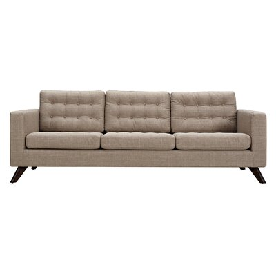 Mina Sofa Upholstery: Light Sand, Finish: Walnut