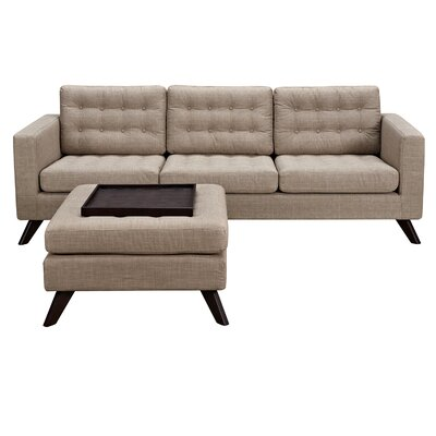 Mina Sofa and Ottoman Finish: Walnut, Upholstery: Light Sand