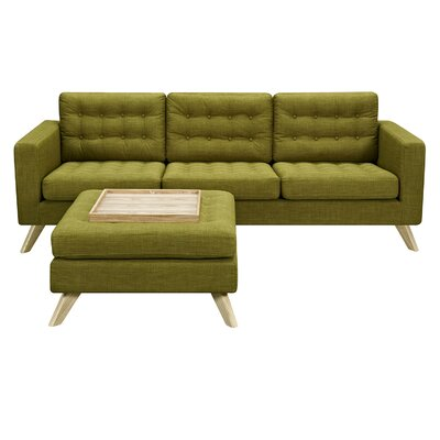 Mina Sofa and Ottoman Upholstery: Avocado Green, Finish: Natural