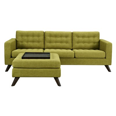 Mina Sofa and Ottoman Finish: Walnut, Upholstery: Avocado Green