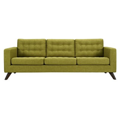 Mina Sofa Upholstery: Avocado Green, Finish: Walnut