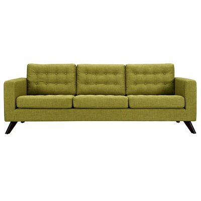 Mina Sofa Upholstery: Avocado Green, Finish: Black