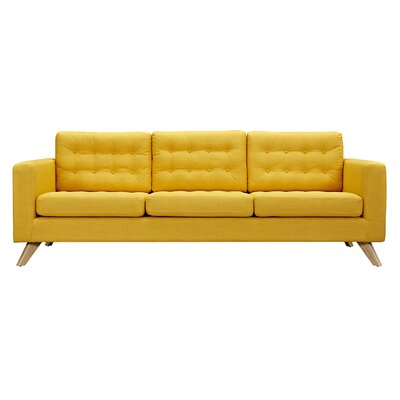 Mina Sofa Upholstery: Papaya Yellow, Finish: Natural