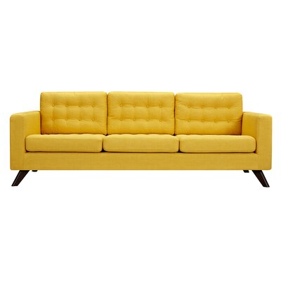 Mina Sofa Upholstery: Papaya Yellow, Finish: Walnut