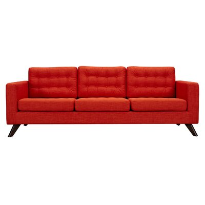 Mina Sofa Finish: Walnut, Upholstery: Retro Orange