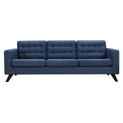 Mina Sofa Finish: Walnut, Upholstery: Stone Blue