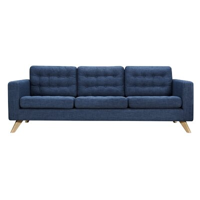 Mina Sofa Finish: Natural, Upholstery: Stone Blue