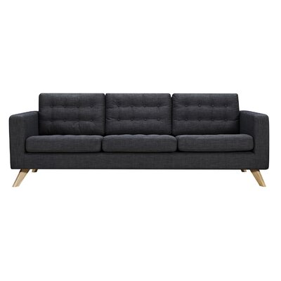 Mina Sofa Finish: Natural, Upholstery: Charcoal Gray