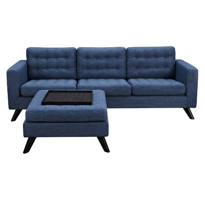 Mina Sofa and Ottoman Finish: Black, Upholstery: Stone Blue