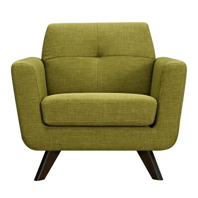 Dania Arm Chair Finish: Walnut, Upholstery: Avocado Green