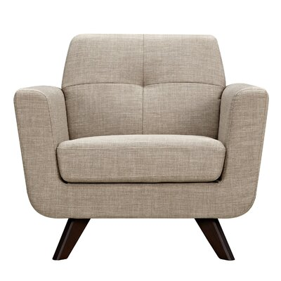 Dania Arm Chair Finish: Walnut, Upholstery: Light Sand