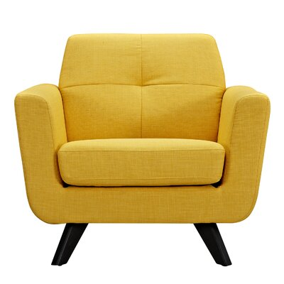 Dimick Armchair Upholstery: Papaya Yellow, Finish: Black