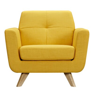 Dania Armchair Finish: Natural, Upholstery: Papaya Yellow