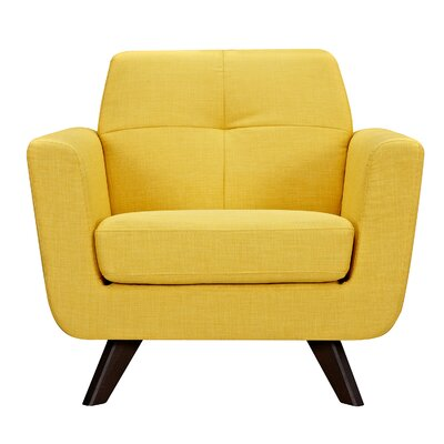 Dimick Armchair Upholstery: Papaya Yellow, Finish: Walnut