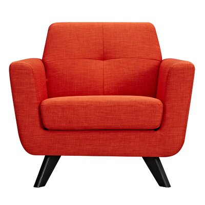Dania Arm Chair Finish: Black, Upholstery: Retro Orange