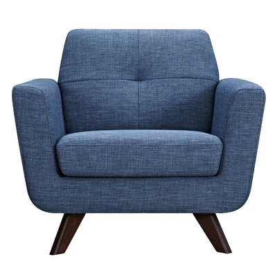 Dania Arm Chair Finish: Walnut, Upholstery: Stone Blue