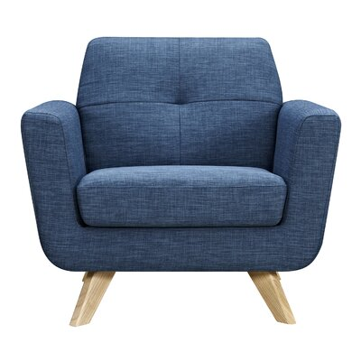 Dimick Armchair Upholstery: Stone Blue, Finish: Natural