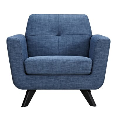 Dimick Armchair Upholstery: Stone Blue, Finish: Black