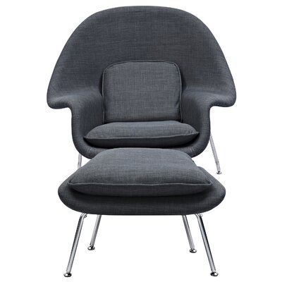 Saro Lounge Chair and Ottoman Upholstery: Charcoal Gray