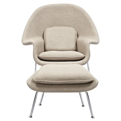 Saro Lounge Chair and Ottoman Upholstery: Light Sand