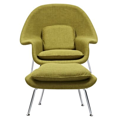 Saro Lounge Chair and Ottoman Upholstery: Avocado Green