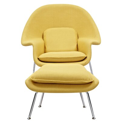 Saro Lounge Chair and Ottoman Upholstery: Papaya Yellow