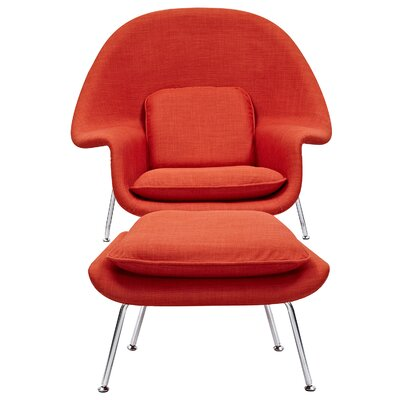 Saro Lounge Chair and Ottoman Upholstery: Lava Red
