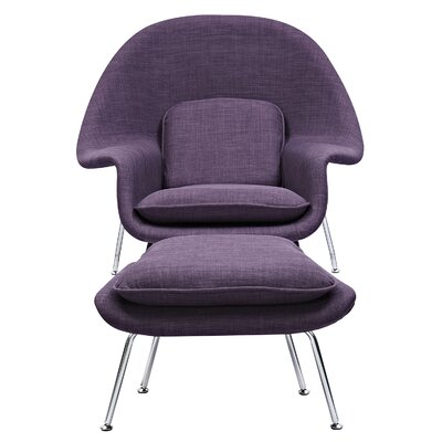 Saro Lounge Chair and Ottoman Upholstery: Plum Purple
