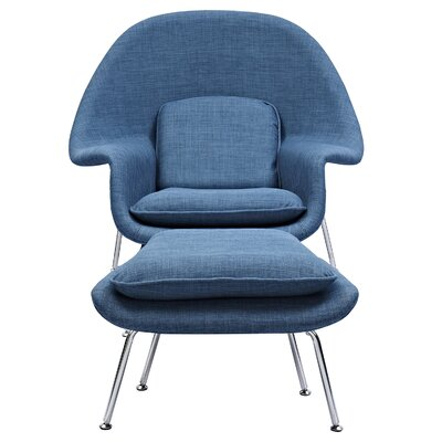 Saro Lounge Chair and Ottoman Upholstery: Dodger Blue