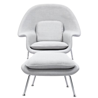 Saro Lounge Chair and Ottoman Upholstery: Glacier White