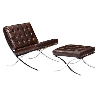 Barca Lounge Chair and Ottoman Upholstery: Aged Cognac