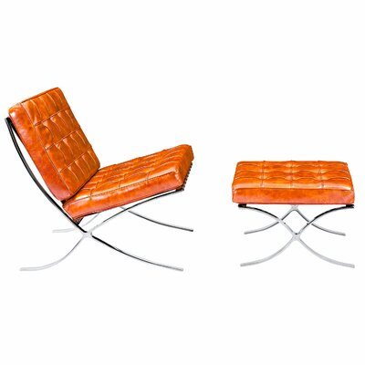 Barca Lounge Chair and Ottoman Upholstery: Burnt Orange