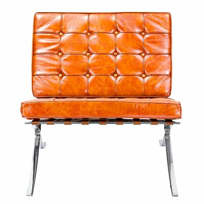 Mies Side Chair Upholstery: Burnt Orange