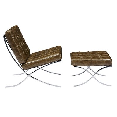 Barca Lounge Chair and Ottoman Upholstery: Palermo Olive