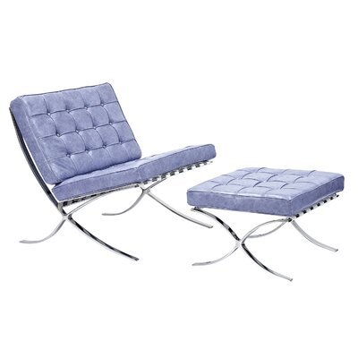 Mies Lounge Chair and Ottoman Color: Weathered Blue