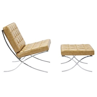 Mies Lounge Chair and Ottoman Color: Aged Maple