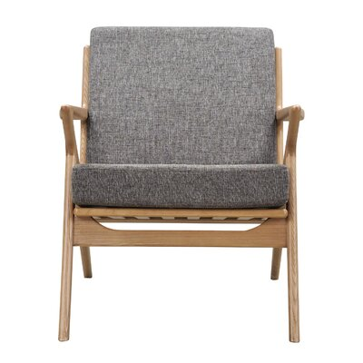 Zain Armchair Finish: Natural, Upholstery: Cloud Gray