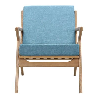 Zain Armchair Finish: Natural, Upholstery: Dodger Blue