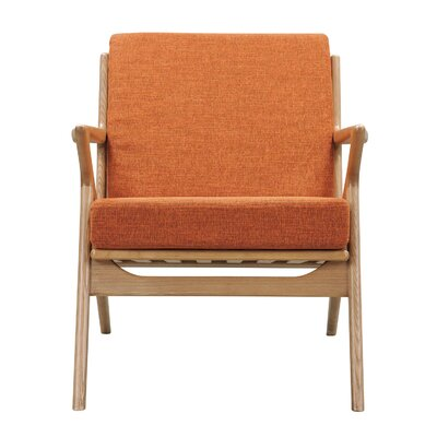 Zain Arm Chair Color: Burnt Orange, Finish: Natural