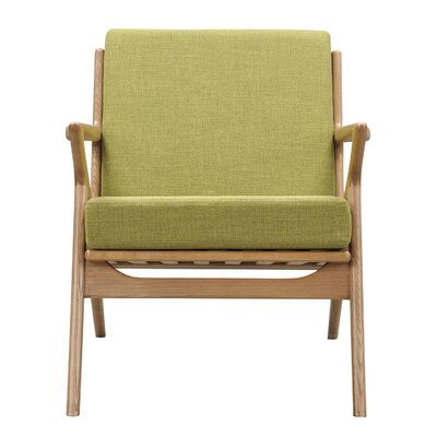 Zain Armchair Finish: Natural, Upholstery: Avocado Green