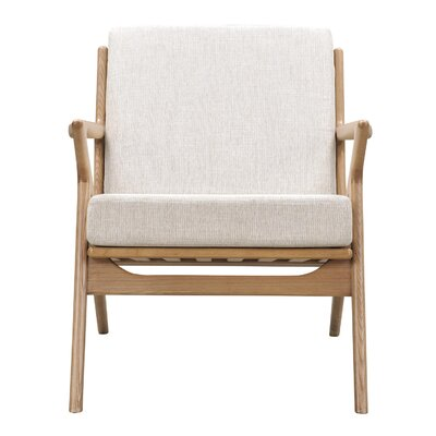 Zain Armchair Finish: Natural, Upholstery: Oatmeal Gray