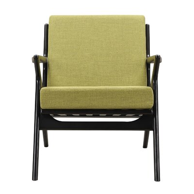 Zain Armchair Finish: Black, Upholstery: Avocado Green