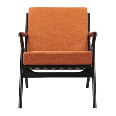 Zain Armchair Color: Burnt Orange, Finish: Black