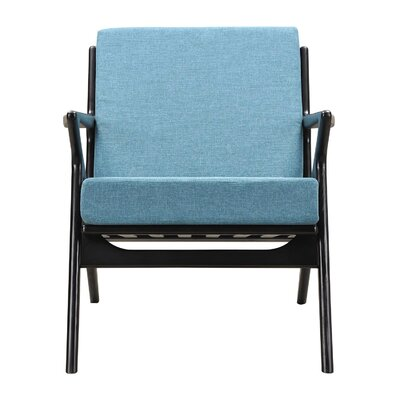 Zain Arm Chair Color: Dodger Blue, Finish: Black