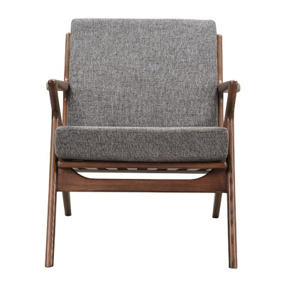 Zain Arm Chair Color: Cloud Gray, Finish: Walnut