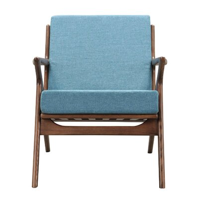 Zain Armchair Color: Dodger Blue, Finish: Walnut