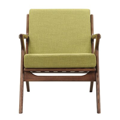 Zain Armchair Finish: Walnut, Upholstery: Avocado Green