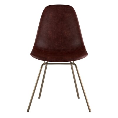 Classroom Side Chair Upholstery: Aged Cognac, Finish: Brass